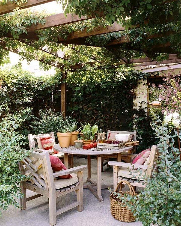 Pérgola cubierta con plantas