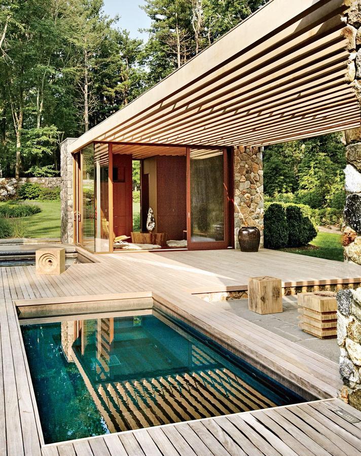 Pérgola de madera en la terraza