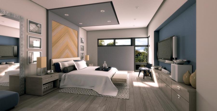 Foto perspectiva interior recamara principal de diez y for Recamaras modernas monterrey
