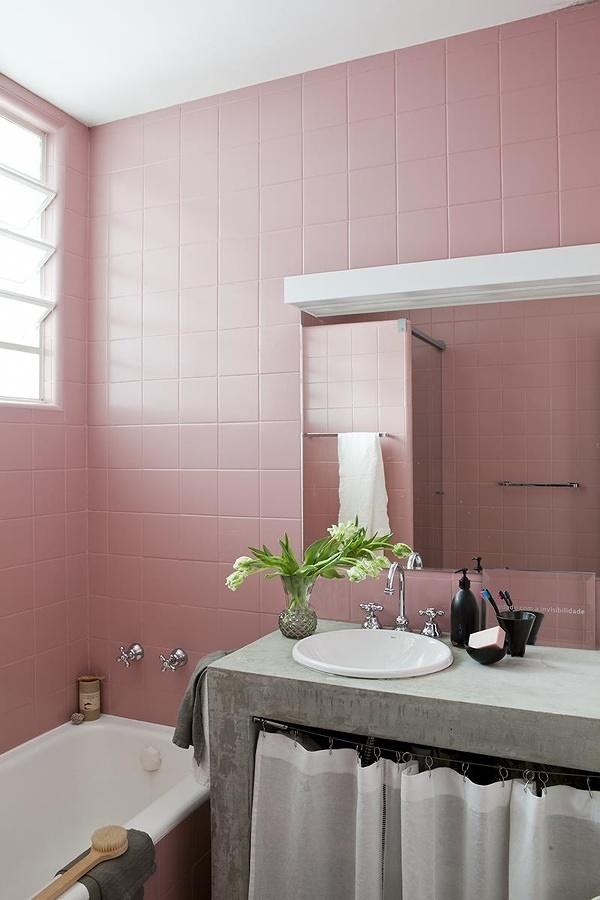 azulejos pintados con pintura epxica rosa - Azulejos Rosa