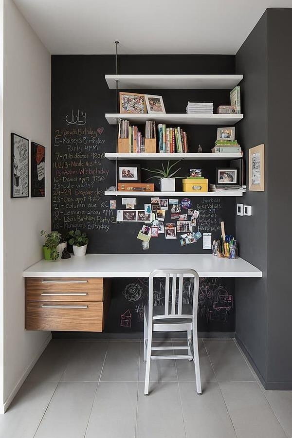 Oficina con pared de pizarrón
