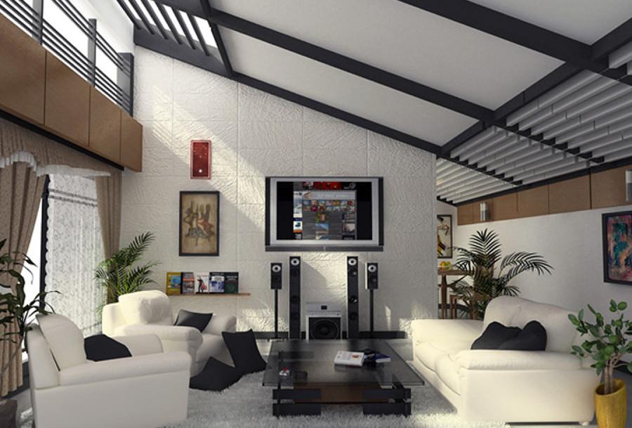 Estancia penthouse con techo inclinado aparente ideas for Sala de estar estancia cocina abierta