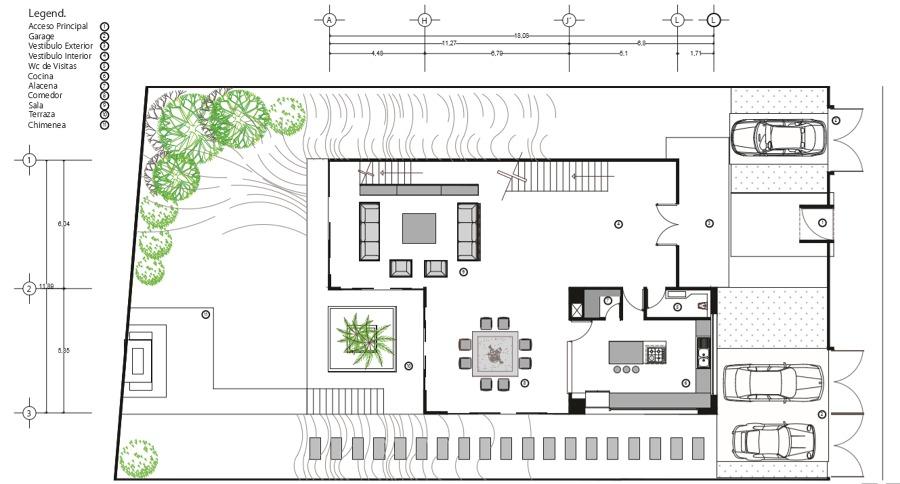 Foto plano arquitect nico casa alpes de rrj 3 for Casa vivienda jardin pdf