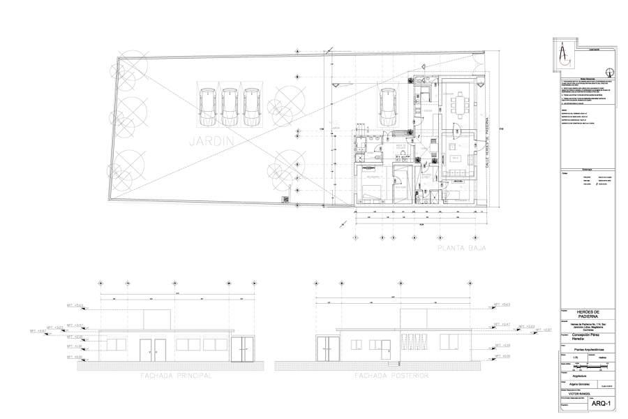 planta arquitectonica y fachadas