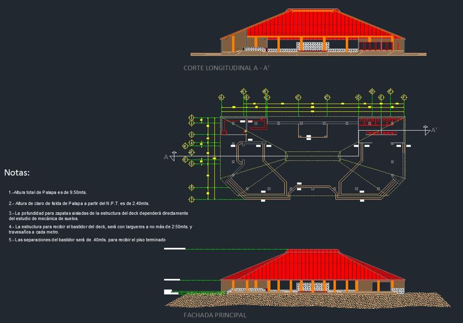Planta, Corte y Fachada Proyecto Palapa para eventos Hotel PCMA