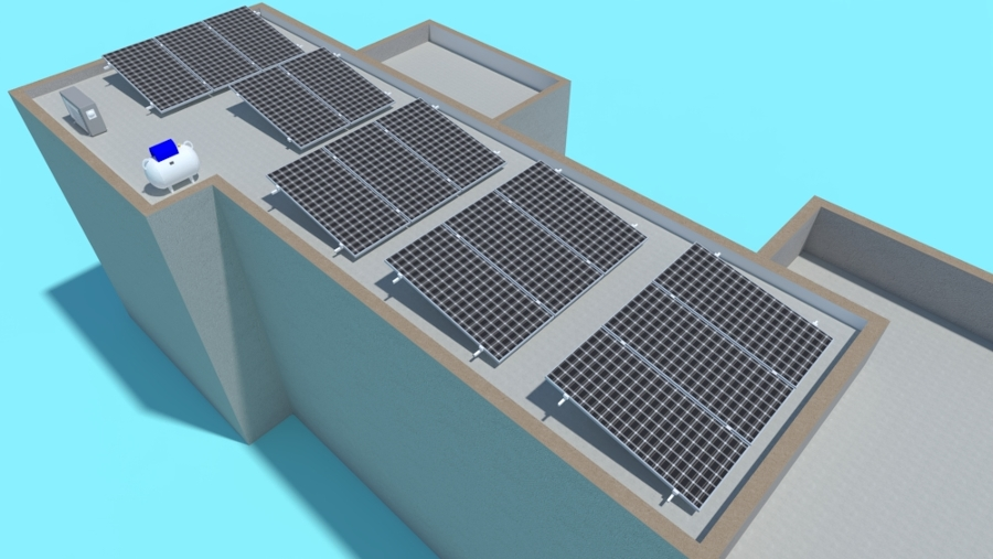 Proyección de Sistema fotovoltaico de 14 paneles vista posterior