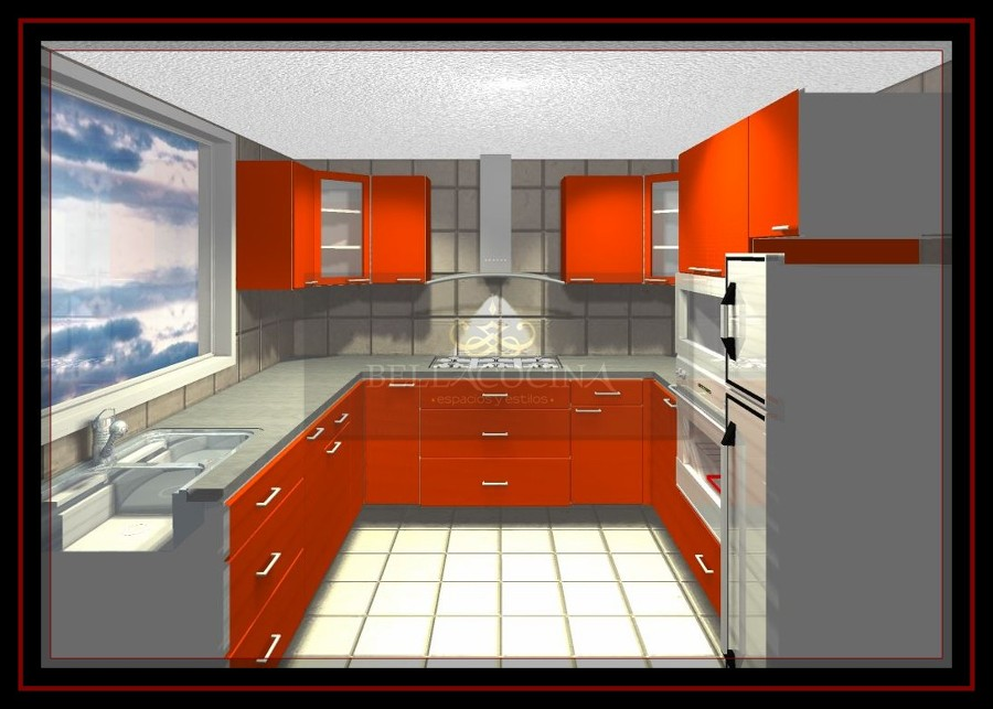 Foto: Proyecto Cocina Orange. Renderizado. de Bellacocina Espacios Y ...