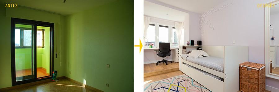 Antes y después remodelación cuarto infantil