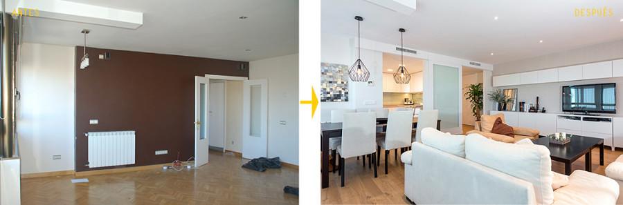Antes y después remodelación sala