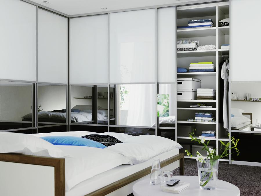 Puertas de closet con vidrio blanco y espejo