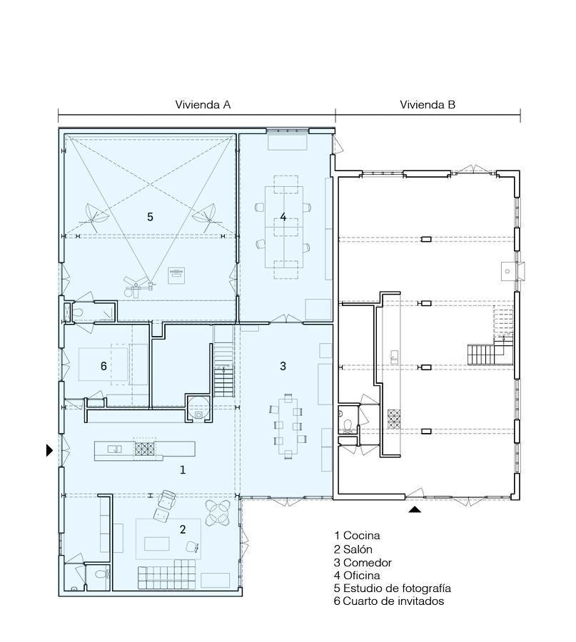 Plano de remodelación de un almacén antiguo