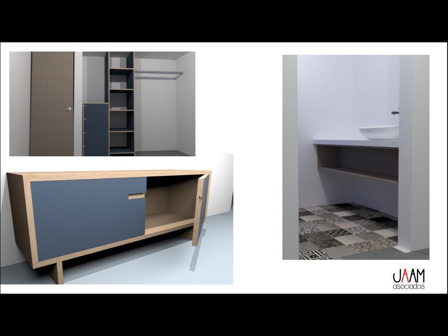 Render Closet, mueble y Cuarto de baño.