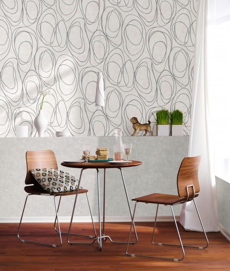 Foto pared con papel tapiz en el comedor 306450 for Papel pintado para pintar castorama