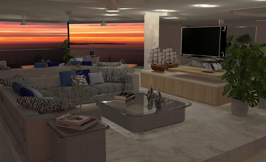 Sala de estar y TV.