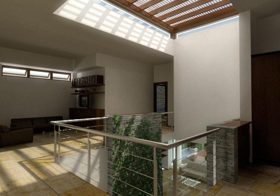 Foto sala de tv y domo vestibulo de fractal corp for Laminas para techos interiores