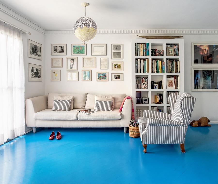 Foto piso pintado con pintura ep xica azul 242395 - Como pintar las juntas del piso ...