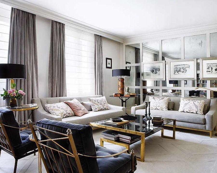 Sala estilo clásico con tonos grises