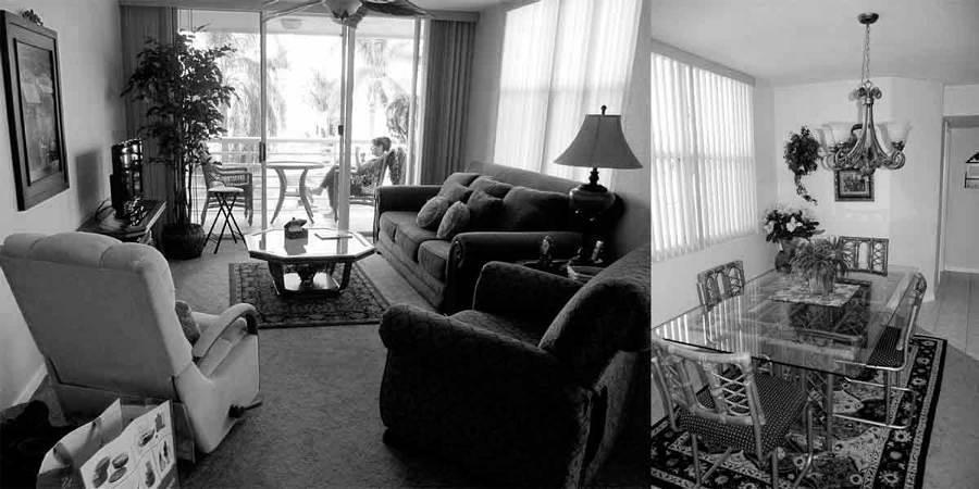 Sala con exceso de sillones y sofás