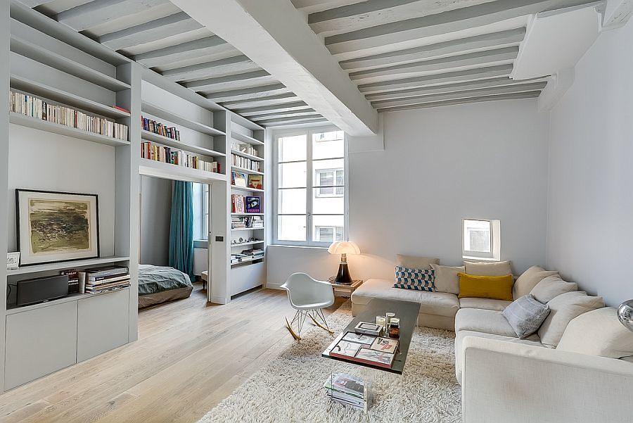 Sala con muebles de tablaroca divisorios