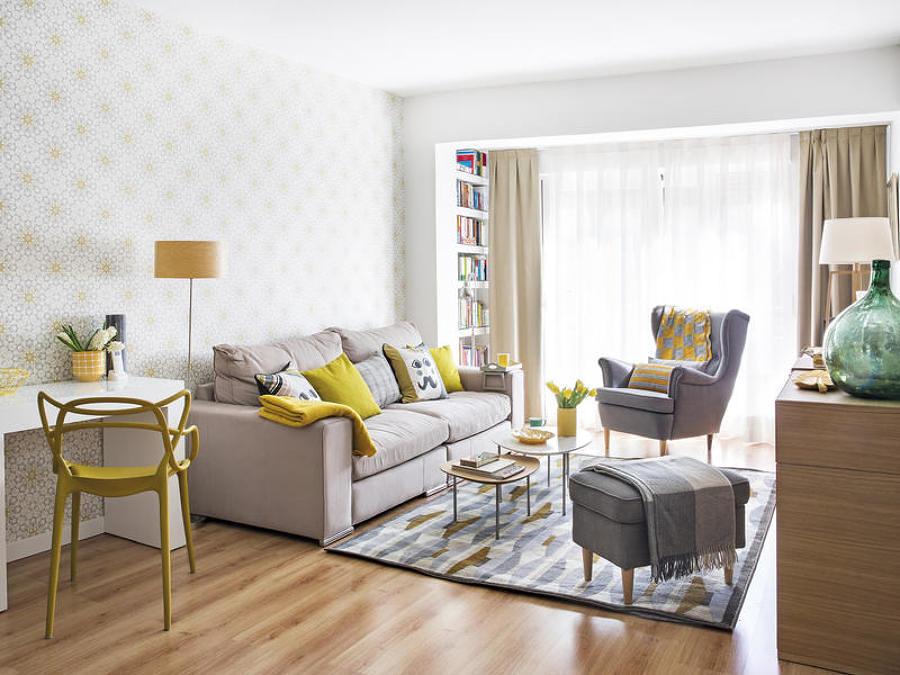 foto sala decorada con papel tapiz en las paredes 231232