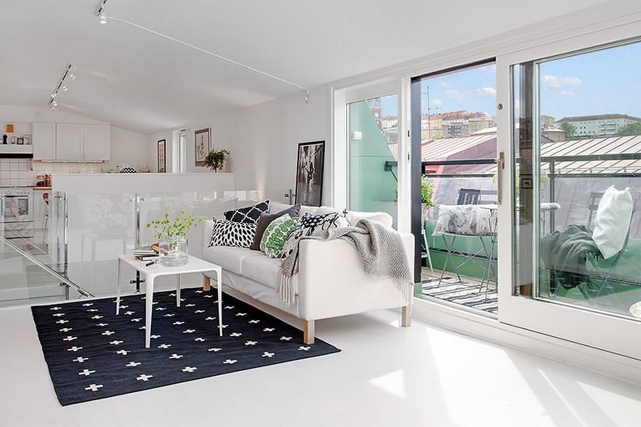 Sala con piso de resina epóxica blanco