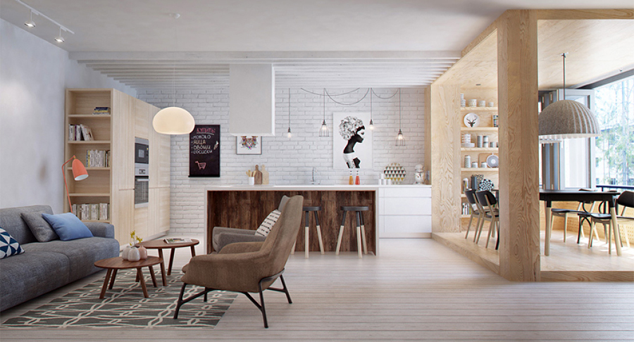 Sala con piso de madera de estilo contemporáneo