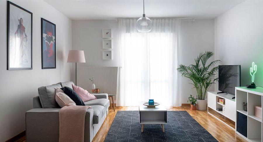 Sala de estilo funcional con sofá en gris
