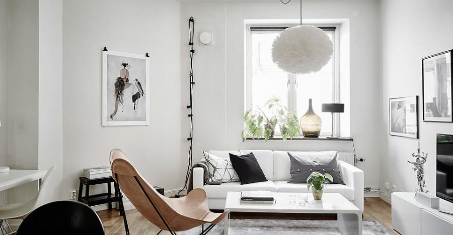 Sala pequeña estilo nórdico