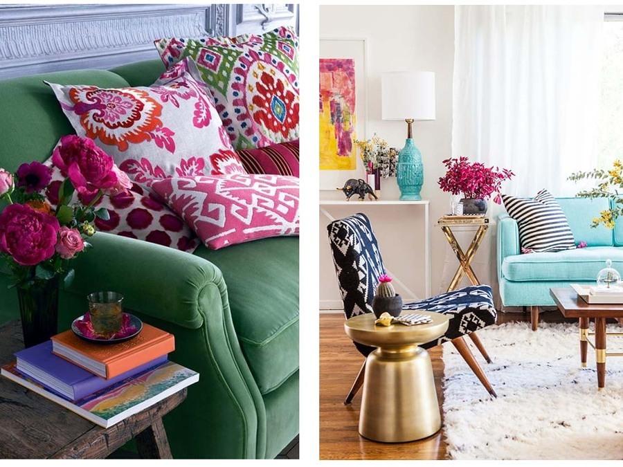 salones con textiles estampados