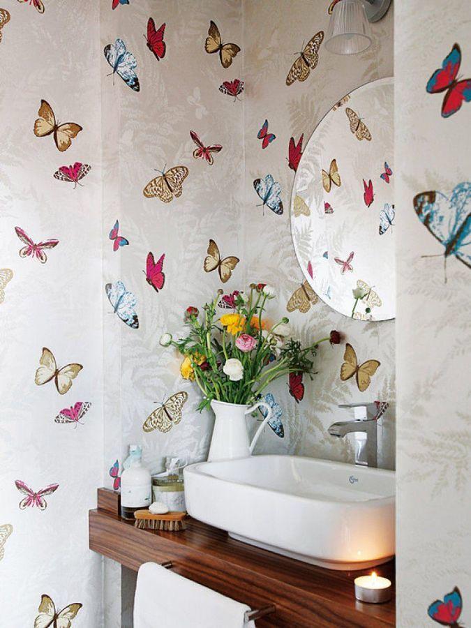 Decora tu ba o con papel pintado ideas dise o de interiores for Papel pintado plastificado