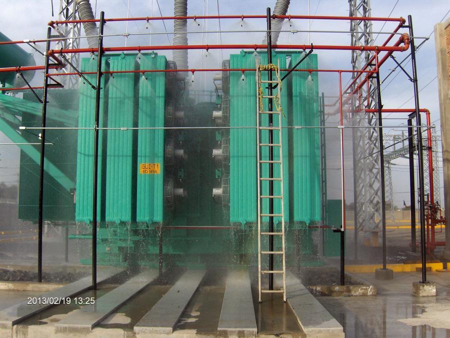 Sistema de diluvio en transformador