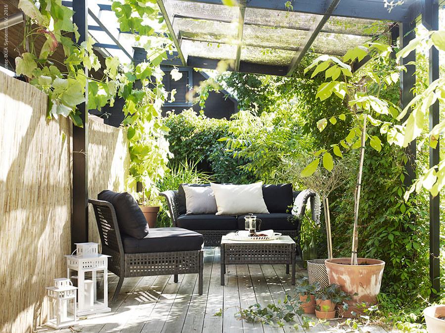terraza con pérgola y plantas