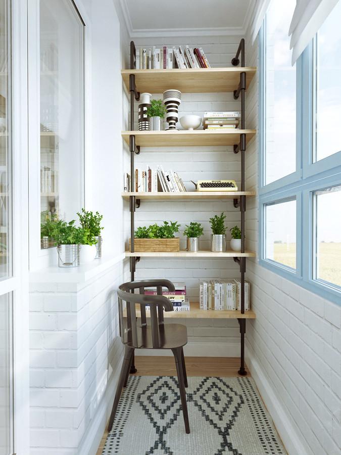 Terraza cerrada y convertida en zona de lectura