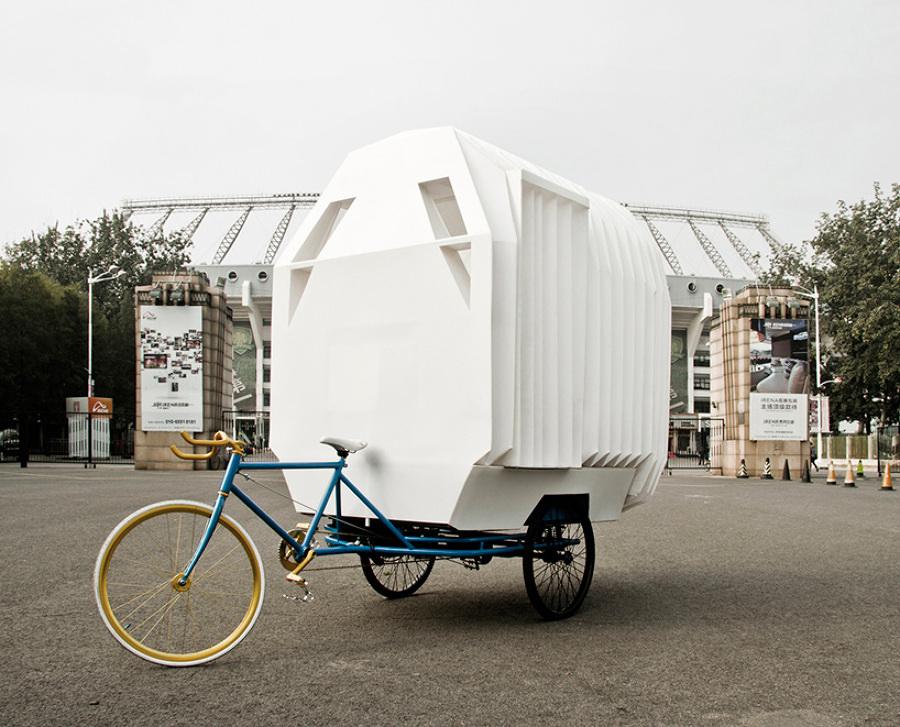 una casa en una bici