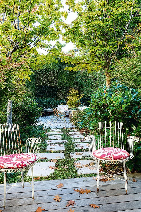 terraza en el jardin