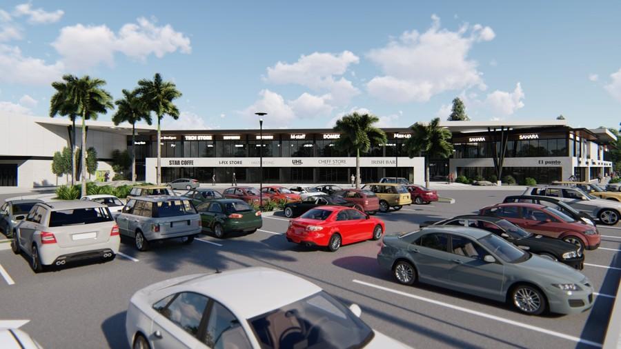 Vista de estacionamiento a centro comercial