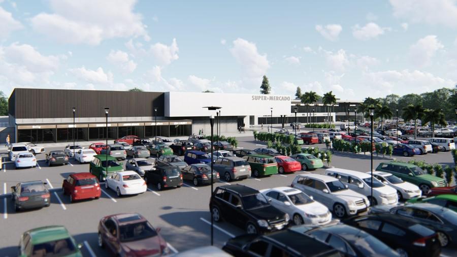 Vista desde estacionamiento a súper mercado