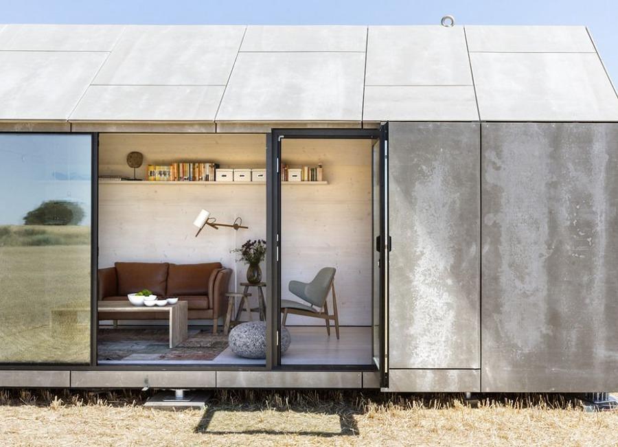 Casa prefabricada de concreto abierta