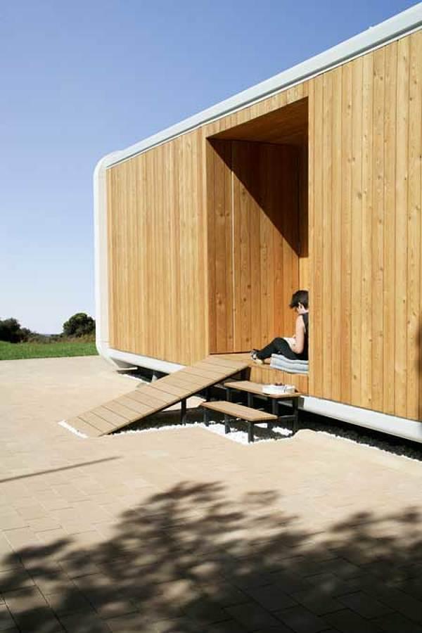 Fachada casa prefabricada de madera