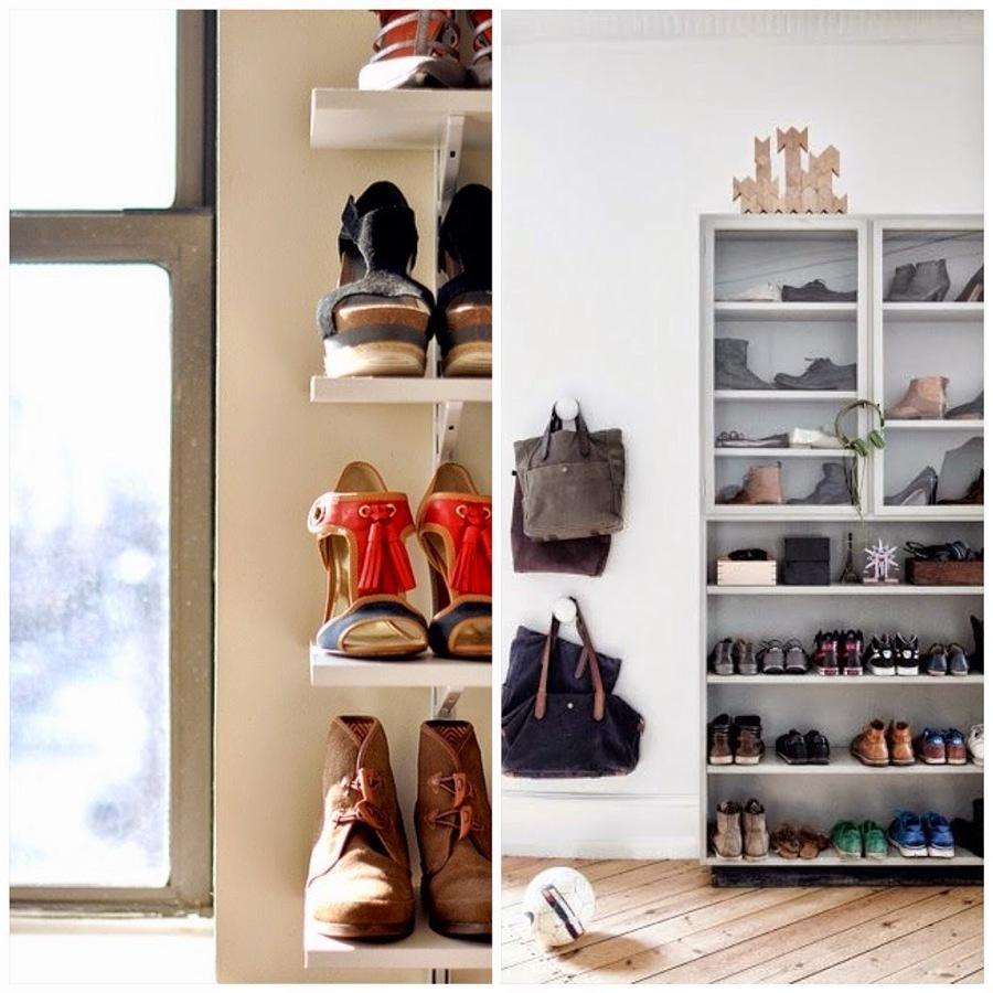 Calzado organizado en estanterías