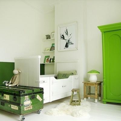 Recámara con clóset color Greenery