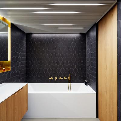 Baño con tina y diversos tipos de iluminación