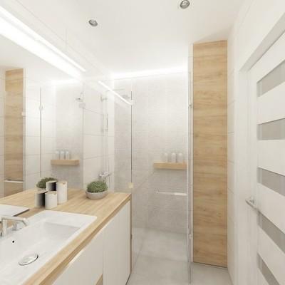 Baño pequeño con tonos claros y regadera