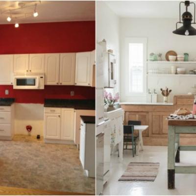 Antes y después de una cocina vintage abierta al comedor
