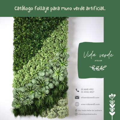 Catálogo para muro verde artificial.
