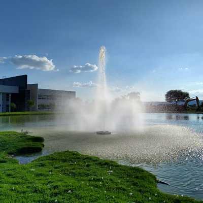 Fuente en lago artificial