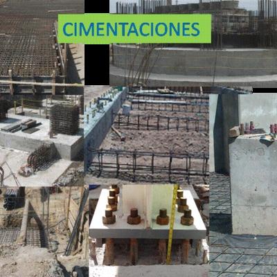 Cimentaciones y estructuras de concreto.