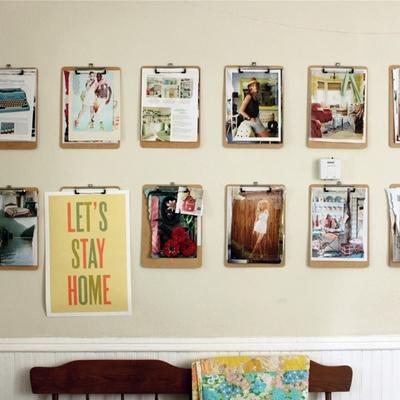 Viste tus paredes de color con clipboards