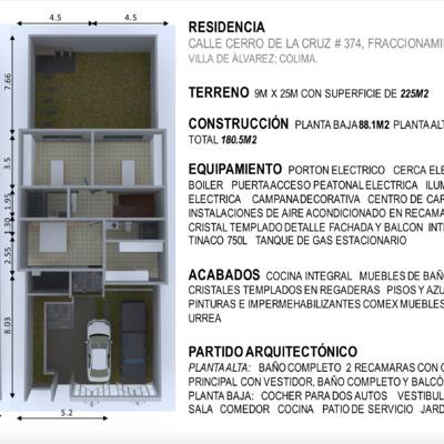 Proyecto Fraccionamiento Las Lagunas, Villa de Alvarez, Colima (casa 374)