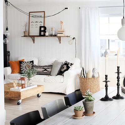 Sala decorada con estilo nórdico